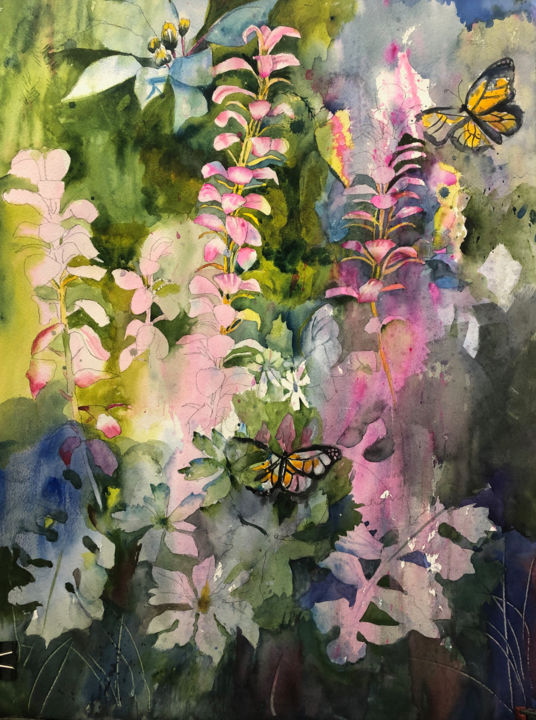 """Painting titled """"Summer Weeds and Bu…"""" by Emily Stedman, Original Art, Watercolor"""
