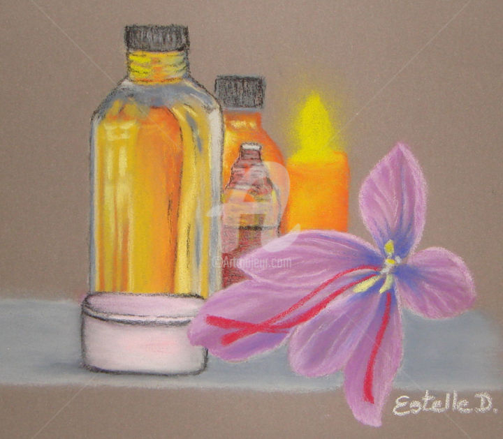 Safran 05 - Drawing,  30x20 cm ©2017 by Estelle D -                                                                                                                                Figurative Art, Botanic, Colors, Women, Flower, Garden, Light, Nature, Health & Beauty, safran, stigmates, pistils, or rouge, cosmetique, flacons, pot, bougie, composition, art, dessin, pastel, Bretagne, Morbihan, EstelleD