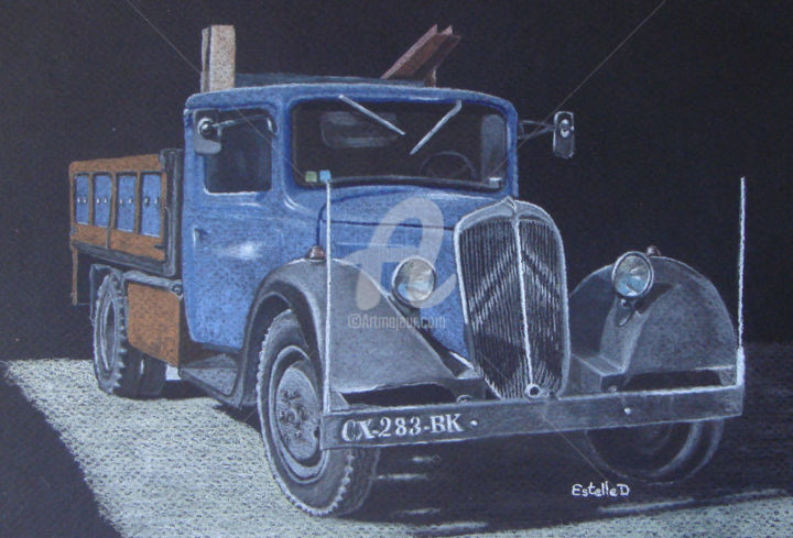 Le camion de Yann - Drawing,  30x40 cm ©2018 by Estelle D -                                                                                            Figurative Art, Automobile, Colors, Rural life, Transportation, Car, Art, Dessin, Pastel sec, Camion, France, Bretagne, Morbihan, EstelleD
