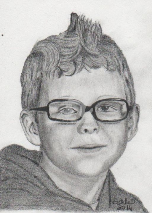 petit garçon - Drawing,  8.3x5.9 in, ©2014 by Estelle D -                                                                                                                                                                                                                                                                                                                                                                                                                                                                                                                          Black and White, graphite, dessin, portrait, enfant, garçon, bambin, Bretagne, Morbihan, Langoëlan, Estelled