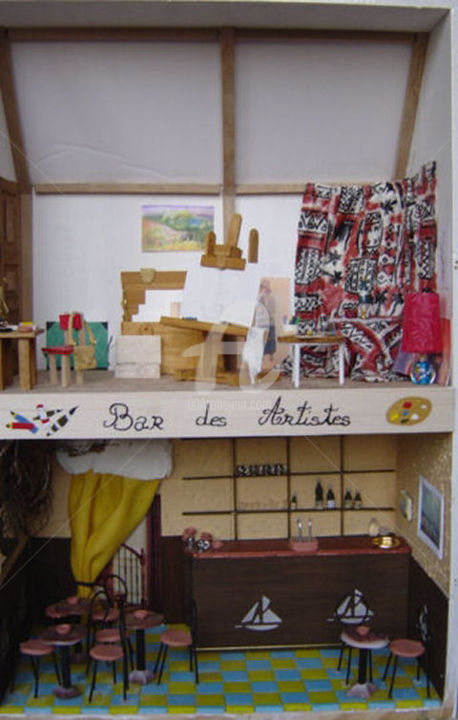 Bar des Artistes - Artcraft, ©2015 by Estelle D -                                                                                                                                                                                                                                                                                                                                                                                                                                                                                                                                                                                                                                                                                                                                                                                                                                                                                                                                          Wood, Metal, Paper, Plastic, Fabric, Interiors, arts, artisanat, vitrines miniatures, bois, papier, métal, plastique, tissus, artiste, bar, estelled, langoëlan, morbihan, Bretagne