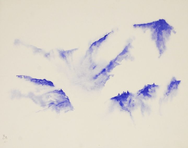 Brume - Painting,  7.5x9.8 in, ©2016 by Estelle Darve -                                                                                                                                                                                                                                                                                                                                                                                                                                                                                                                                                                                                                                                                                                                                                                                                                                                                                                                                                                                                                                                                                                                                                                  Asia, Light, Nature, Landscape, Mountainscape, aquarelle, aquarelle brume, aquarelle montagne, aquarelle monochrome, aquarelle bleue, watercolor, blue watercolor, mountain watercolor, mist mountain watercolor, monochrome watercolor, landscape watercolor, contemporary art, contemporary watercolor, art contemporain, aquarelle contemporaine, french artist, misty landscape, misty lanscape watercolor, aquarelle paysage brumeux, paysage aquarelle