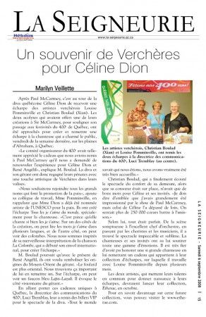 Newspaper article about a gift given by Etherae to Céline Dion & René Angélil  in Quebec City -