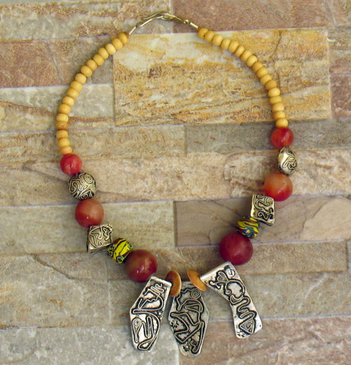 N°7 Tassili - Design, ©2017 by Racine Kane -                                                              ethnic african beads necklace