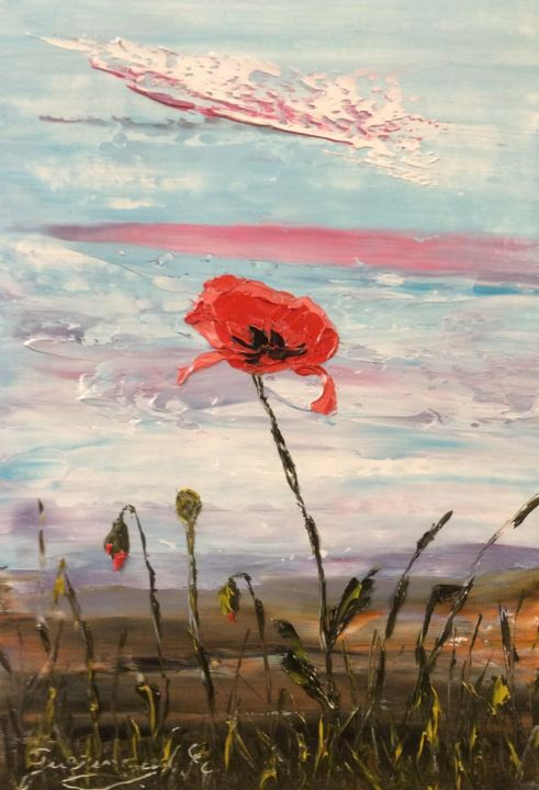 Belle fleur - Painting,  10.6x7.1 in, ©2020 by Etienne Guérinaud -                                                                                                                                                                                                                          Impressionism, impressionism-603, Flower, Le coquelicot