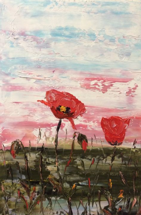 Les coquelicots rouges - Painting,  10.6x7.1 in, ©2020 by Etienne Guérinaud -                                                                                                                                                                                                                          Impressionism, impressionism-603, Flower, Les coquelicots