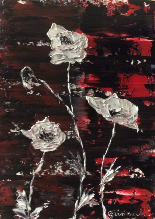 Coquelicots blancs sur fond rouge et noir - Painting,  9.5x6.7 in, ©2020 by Etienne Guérinaud -                                                                                                                                                                                                                          Abstract, abstract-570, Flower, Coquelicots blancs