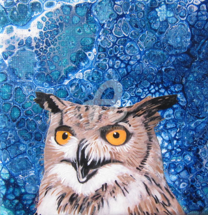 owl - Painting, ©2017 by Ellen Hendrikx -                                                                                                                                                                                                                                                                                              Animals, owl, small, canvas, blue, brown