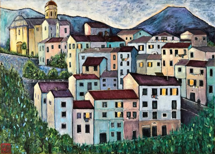 """Painting titled """"Italian town in blue"""" by Natalie Part, Original Art, Oil"""