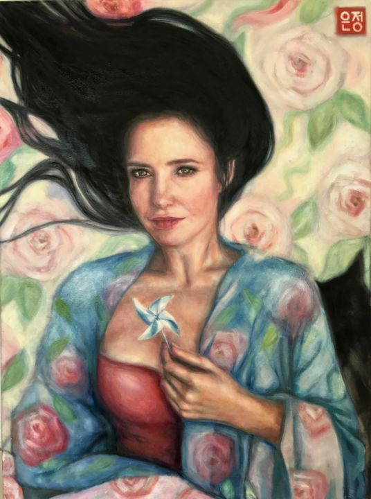 """Painting titled """"portrait with a win…"""" by Natalie Part, Original Art, Oil"""