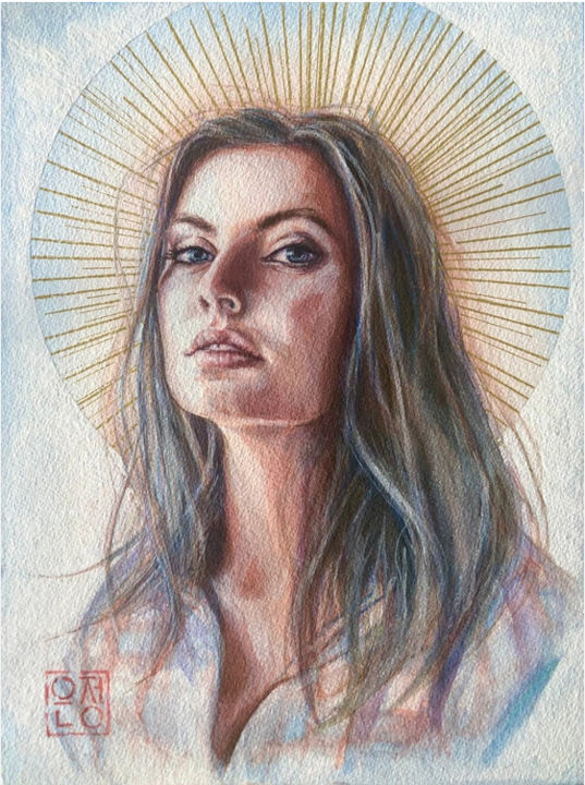 """Painting titled """"her light"""" by Natalie Part, Original Art, Watercolor"""