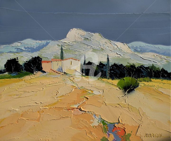 La Bergerie - Painting,  18.1x21.7x1.2 in, ©2020 by Christian Eurgal -                                                              Mountainscape