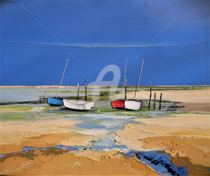 Marée basse - Painting,  21.3x25.6 in, ©2020 by Christian Eurgal -                                                                                                                                                                          Expressionism, expressionism-591, Ships