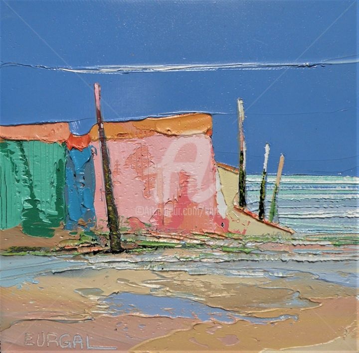 Ostréicole - Painting,  7.9x7.9x0.8 in, ©2020 by Christian Eurgal -                                                                                                                                                                                                                      Abstract, abstract-570, Nature, Seascape