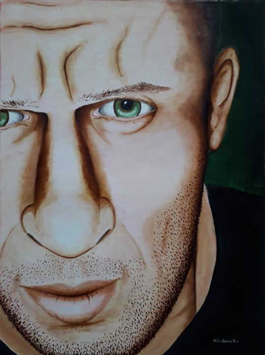 """Painting titled """"an angry man"""" by Éva Mihalovics, Original Art, Oil"""