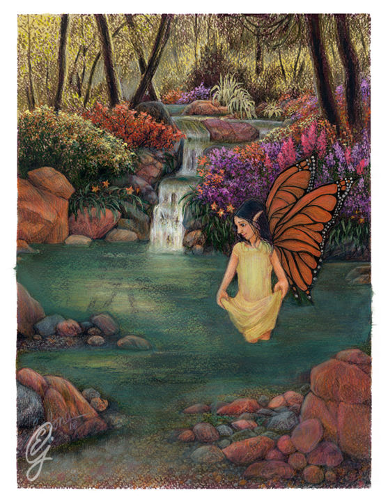 Monarch Fairy - © 2019 fairytales, fairy art, landscape painting, tree drawing, waterfalls, water, ponds, fairries, forest path, butterflies Online Artworks