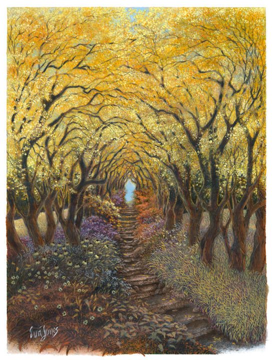"""""""Fall Flowered Path"""" - Drawing,  17x14x0.12 in ©2018 by Eva Maria Jones -                                                                                            Illustration, Impressionism, Landscape, Light, Nature, Tree, landscape, autumn, fall art, tree art, color pencil drawing, forest path"""