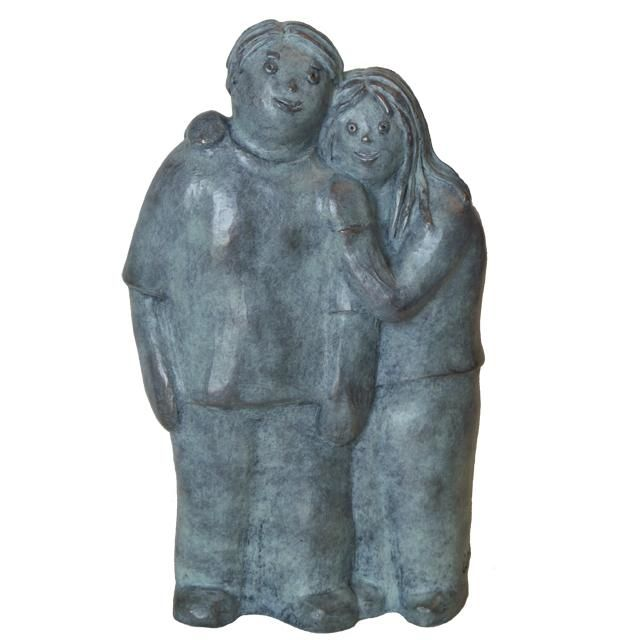 Complices - bronze 1/8 28 cm - Sculpture,  28x17x7 cm ©2012 by EVA ROUWENS -                                                            Expressionism, Bronze, Love / Romance, Bronze, fonderie BARTHELEMY, couple, amoureux, ensemble