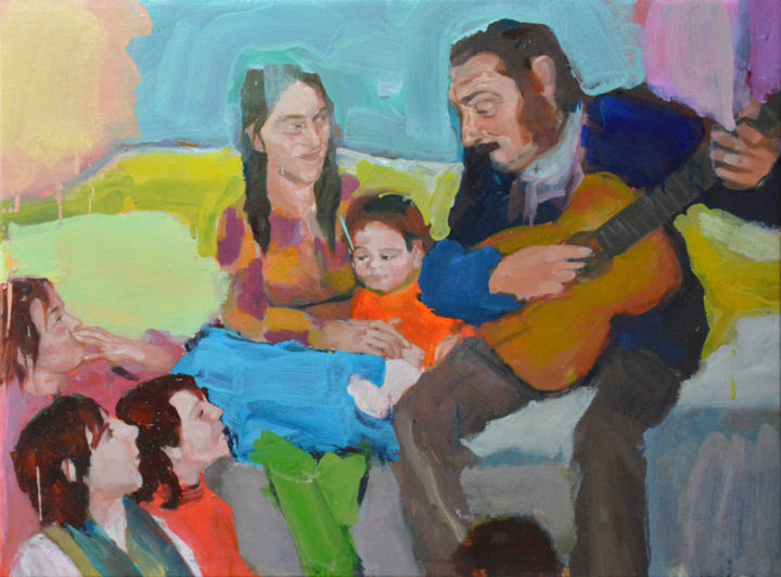 Sérénade - Painting,  25.2x34.3x0.4 in, ©2019 by Eve Clair -                                                                                                                                                                                                                                                                                                                                                          Figurative, figurative-594, Kids, Family, Women, Men, Humor