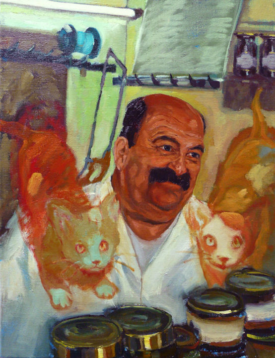 Charcutier à chats - Painting,  24x19.7 in, ©2019 by Eve Clair -                                                                                                                                                                                                                                                                                                                                                          Figurative, figurative-594, Cats, Men, Humor, Interiors, Portraits