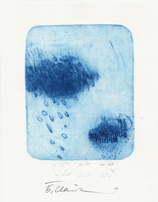 2 novembre 2015 - Printmaking,  3.9x3.2 in, ©2015 by Eve Clair -                                                                                                                                                                                                                          Abstract, abstract-570, Abstract Art, gravure contemporaine