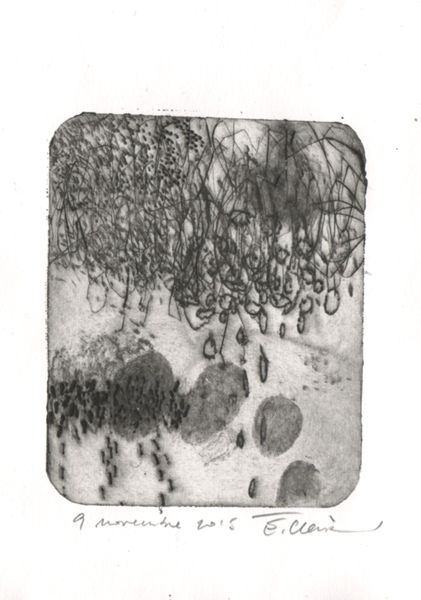 9 novembre 2015-2- - Printmaking,  3.9x3.2 in, ©2015 by Eve Clair -                                                                                                                                                                                                                          Abstract, abstract-570, Abstract Art, gravure contemporaine