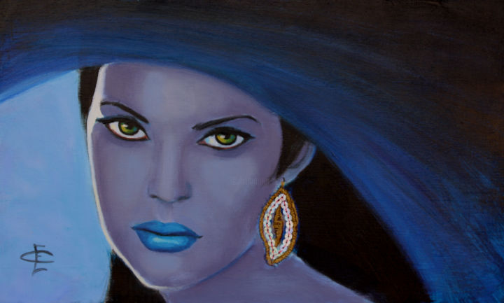 AZUL - Painting,  8.3x13.8 in, ©2014 by Evelyn Carell -                                                                                                                                                                                                                                                                                                                  Figurative, figurative-594, Fantasy, MUJER, VELO, AZUL