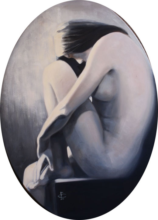 SILENCIO - Painting,  31.5x22.1 in, ©2014 by Evelyn Carell -                                                                                                                                                                                                                                                                                                                  Figurative, figurative-594, Nude, mujer, azul, pensamiento