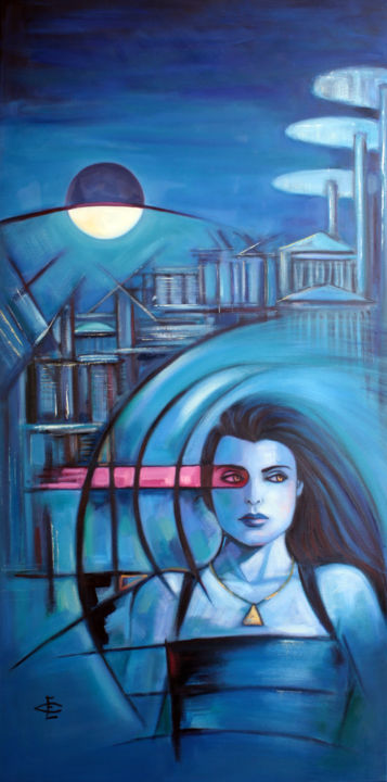 """""""LA VIE EN ROSE"""" - Painting,  47.2x23.6x1.2 in, ©2017 by Evelyn Carell -                                                                                                                                                                                                                          Figurative, figurative-594, Science-fiction, azul"""