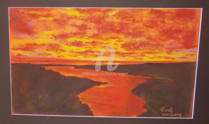 coucher de soleil no 1 - Painting,  15.8x23.6 in, ©2016 by Evely -