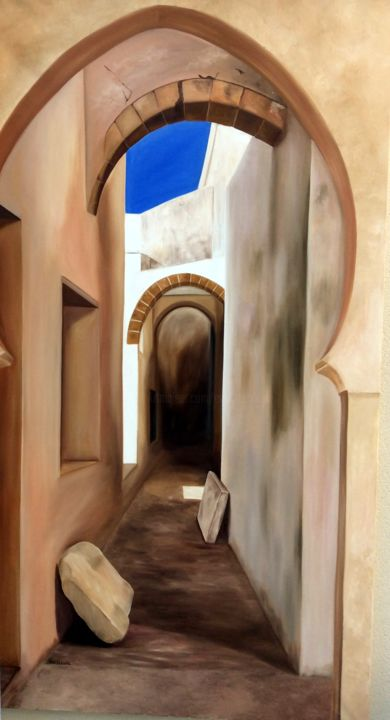 trompe l'oeil - Painting,  78.7x39.4 in, ©2015 by Evelyne Deuil -