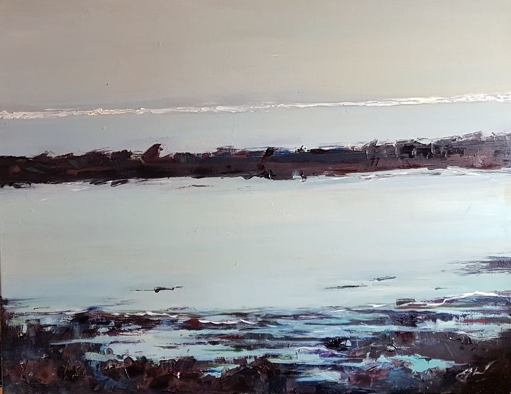 Mer Bigoudène I - Painting,  1,847x2,394x3.5 in, ©2018 by Evelyne CHABAUD -                                                                                                                                                                          Expressionism, expressionism-591, Seascape