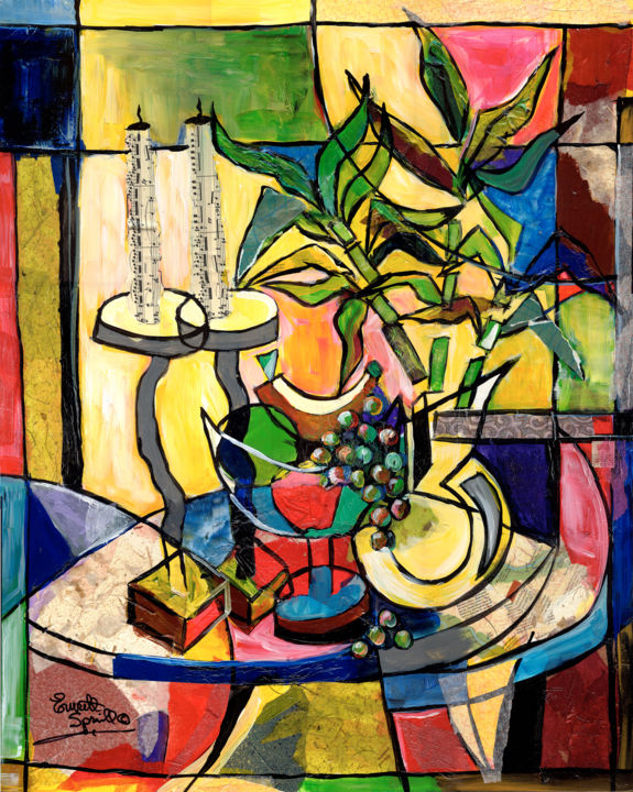 Famous black artist still life with fruit and candles mixed media 2014 by everett spruill abstract