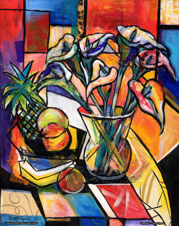 Still life with calla lilies média mixtes 30x2x24 in 2014 par everett spruill
