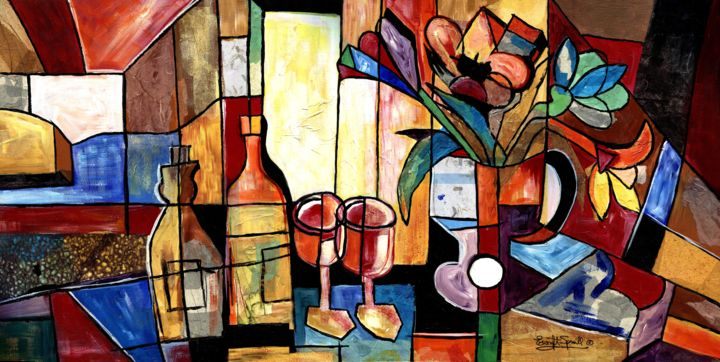 """Collages titled """"Wine and Flowers fo…"""" by Everett Spruill, Original Art,"""