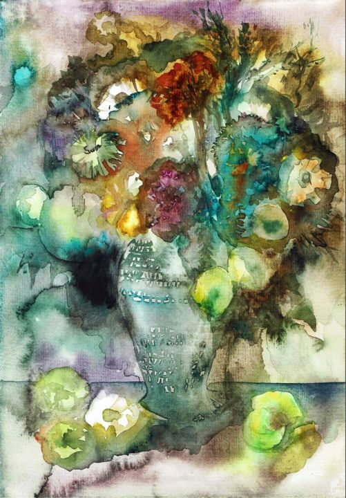 """Painting titled """"Flowers"""" by Evey Zhong, Original Art, Watercolor"""