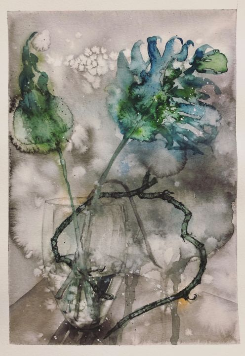"""Painting titled """"Monstera deliciosa"""" by Evey Zhong, Original Art, Watercolor"""