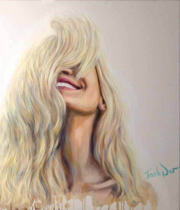 "Oil painting ""Smile"" - Pittura,  27,6x23,6x0,8 in, ©2019 da Evgeny Potapkin -                                                                                                                                                                                                                                                                                                                                                                                                                                                                                                                                              Figurative, figurative-594, Donne, smile, oil painting, interior design, contemporary art, oil portrait, modern, woman, pretty"