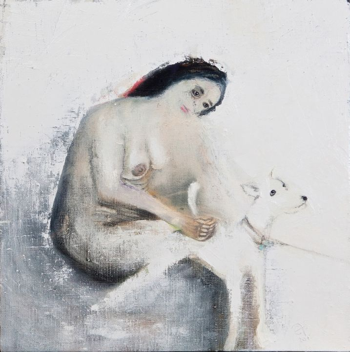 """Painting titled """"Do not go, doggy..."""" by Efs, Original Art, Oil"""