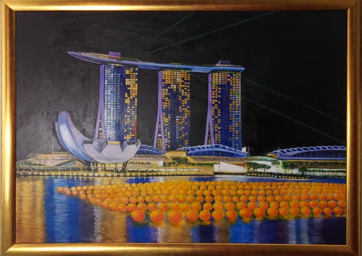 """Painting titled """"滨海淽彩Barrage of Colo…"""" by Annie Lim, Original Art, Acrylic"""