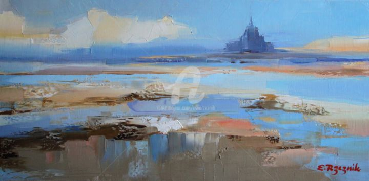 Mont Saint-Michel - Painting,  15.8x31.5 in, ©2019 by Ewa Rzeznik -