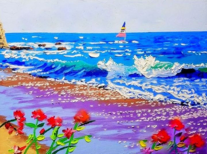 beach - Peinture,  19,7x23,6x0,8 in, ©2019 par Emay -                                                                                                                                                                                                                                                                                                                                                                                                                                                                                                                                                                                                                                                                                                                                                                                                                                                                                                                                                                                                                                                                                                                                                                                                                                                                                                                                                                                                                                                                                                                                                                                                                                                                                              Abstract, abstract-570, Toile, Autre, Papier, Amour / Romance, Paysage marin, Plage, Bateau, Botanique, abstract painting, seascape, beach, botanic, flower, boat, nature, colors, expressionism, other, love, water, yacht, Contemporary painting, Impressionism, oil, acrylic, painting, realism, landscape, beach palette 