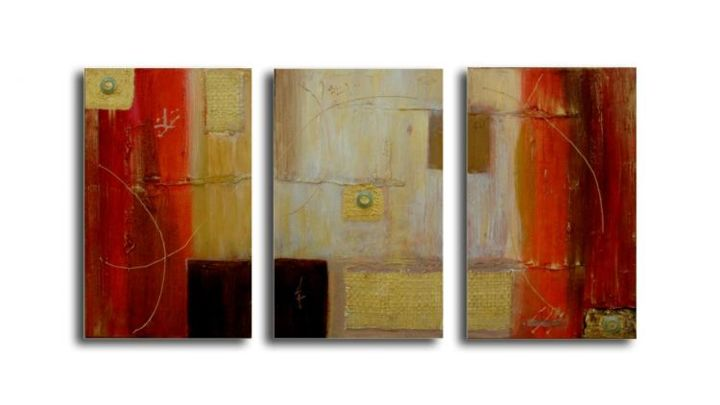 TRIPTYQUE - Painting,  35x66 cm ©2005 by Véronique Eychenne -