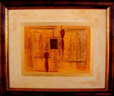 NOMADE II - Painting,  50x61 cm ©2005 by Véronique Eychenne -