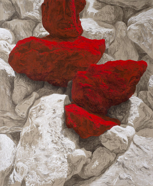 Rocs rouges 6 - Painting,  28.7x23.6x1.6 in, ©2019 by Etienne Eymard Duvernay -                                                              Nature