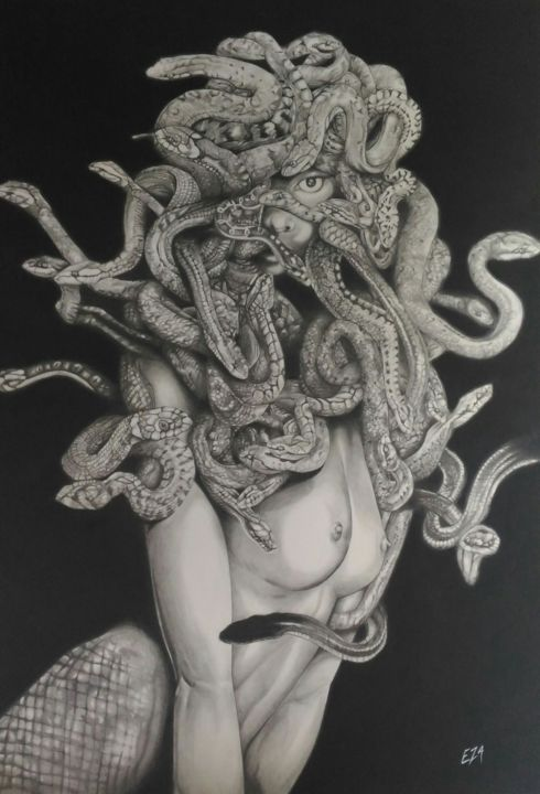 Méduse - Medusa - Drawing,  27.6x19.7 in, ©2017 by Eza Line -                                                                                                                                                                                                                                                                                                                                                                                                                                                                                                  Conceptual Art, conceptual-art-579, Comics, Cinema, Fairytales, Body, Pop Culture / celebrity, Dessin, Draw, Drawing