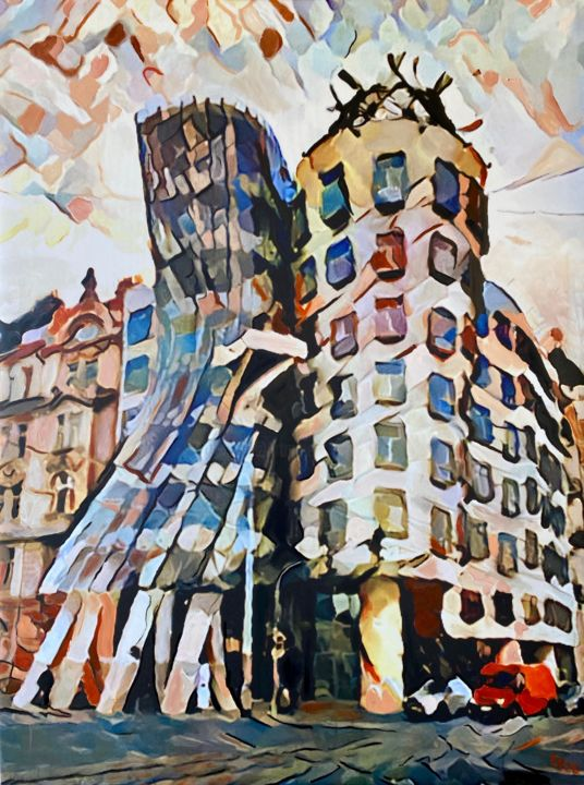 """Painting titled """"The Dancing Building"""" by Ezra Bejar, Original Art, Oil Mounted on Stretcher frame"""