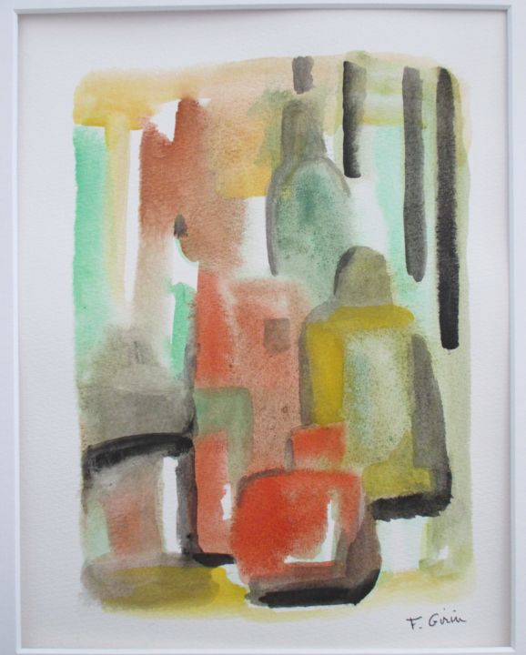 promenade #artistsupportpledge - Peinture,  11,8x9,5x0,7 in, ©2018 par frédérique girin -                                                                                                                                                                          Abstract, abstract-570, Architecture