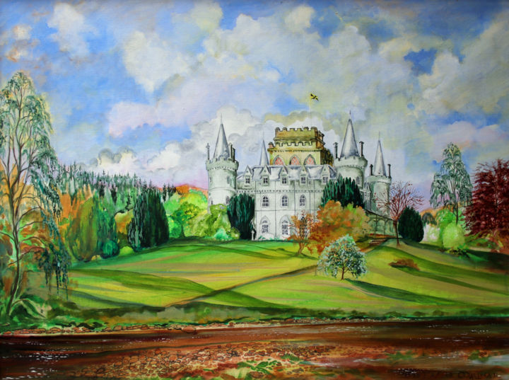 Inveraray Castle - Painting,  38x47.6 in, ©2011 by Fraser MacIver -                                                                                                                                                                                                                                                                                                                                          Architecture, Castle, Inveraray Castle, Inveraray, Argyll, Duke of Argyll, Scotland
