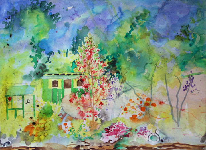 The Wagon, Crinan Canal - Maytime Flame Tree - Painting ©2018 by Fraser MacIver (1960 - 2019) -            Wagon, Crinan, Crinan Canal, Argyll, Scotland, Flame Tree